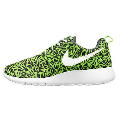 New Kids Nike Roshe One Print (Gs) Sneakers Size 4Y , Cool Grey / Electric Green