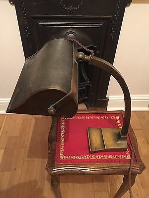Stunning Vintage Very Heavy Brass Bankers Desk Lamp Light