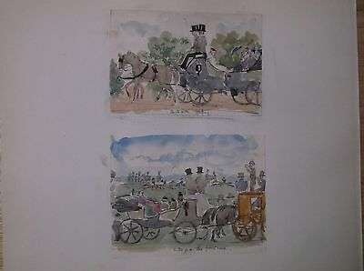 WATERCOLOUR PAINTING signed 1870s A DAY AT THE HORSE RACES