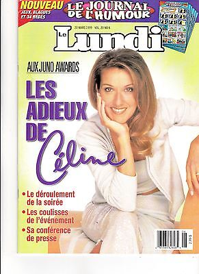 Celine Dion  Rare Lundi Magazine March 1999 Juno Awards 6 Pages Mint