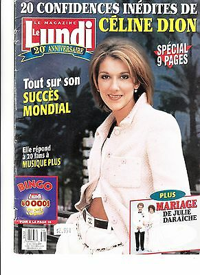 """Celine Dion  Rare Lundi Magazine """"1995"""" 9 Pages Collectible Fan"""