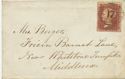 "2427 1859 QV 1d red-brown white paper perf.14 (OL) VF LADY Cover ""17"" LONDON"