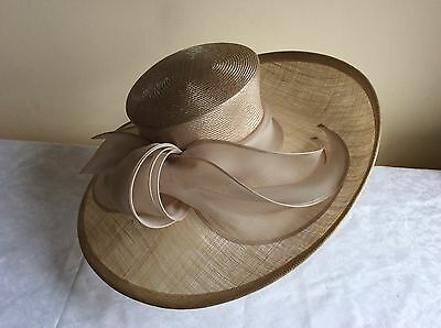 NEW Whiteley Wedding Races Hat - Large Asymmetrical  - Nude/ Champagne. RRP £245
