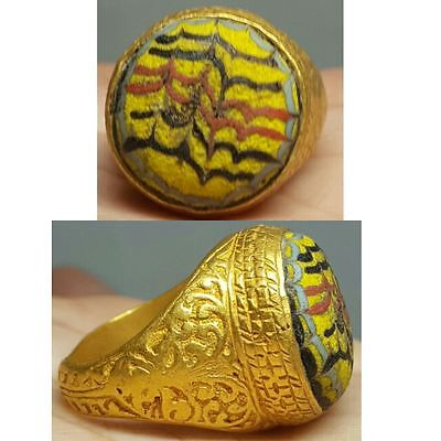 Rare ancient gold gilded silver ring with  roman glass insert