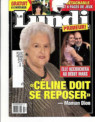 """Celine Dion  Rare Lundi Magazine """"2000"""" 8 Pages Collectible Fan"""