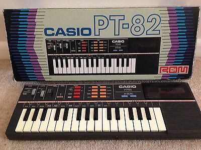 Vintage Casio PT-82 Synthesiser Keyboard + Rom Pack RO-551 World Songs