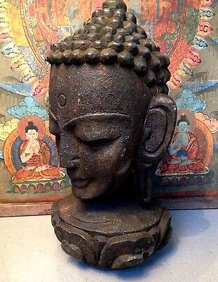 Antique / Vintage Indian Hand-Carved, Sacred Buddha Head. Kathmandu, Nepal.