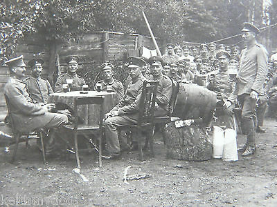 German Officers & Men-Having a drink away from the front-Sent as a feldpost 1917