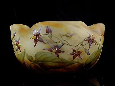 Daum Nancy Art Nouveau Quadrilobate Bowl Cameo And Enamel Violets