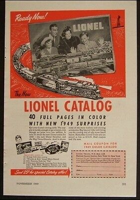 1949 Lionel Model Train Catalog AD *Ready Now*