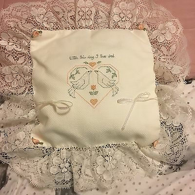 Hand Made Wedding Ring Pillow Cross Stitch Embroidery Love