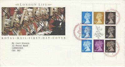 1990 £5 London Life Prestige Stamp Book Pane - Bureau H/S FDC.