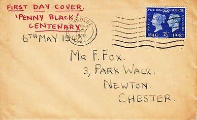 1940 2½d Centenary of First Adhesive Postage Stamps - Chester CDS FDC.
