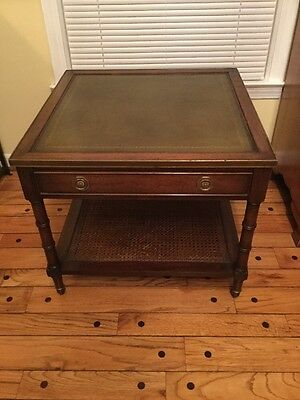 Vintage Hollywood Regency Caned Mahogany Faux Bamboo HEKMAN Side End Table