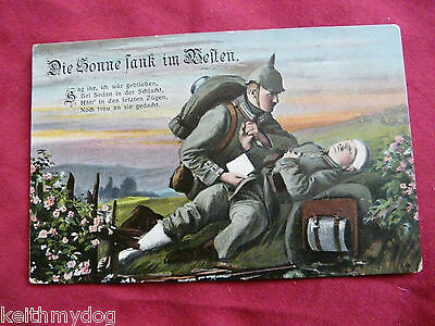 "Soldier with Dying Comrade""The Sun Sank in the West""..Patriotic German Feldpost"
