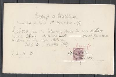 Queen Victoria Hand Written Receipt From Borough Of Blackburn With 1d Lilac Sg 1