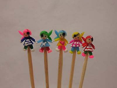 Hand Made Polymer 5 Pirates  On A Stick Dolls House Miniature Nursery Toy