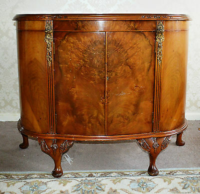 Antique 1930's Figured Walnut Bow Fronted Cabinet Sideboard