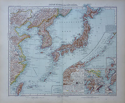 A highly detailed map of Japan,Korea, Cinese coast, Asia by Adolf Stieler