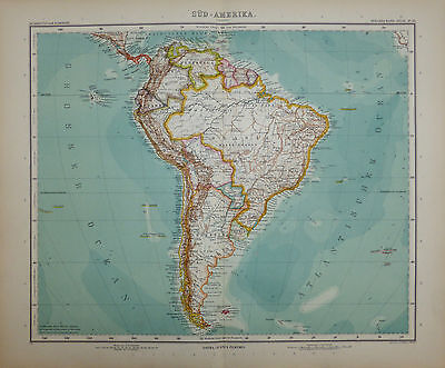 A detailed map of South America by Adolf Stieler
