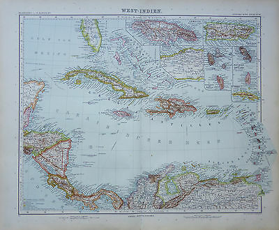 A highly detailed map of West Indies by Adolf Stieler
