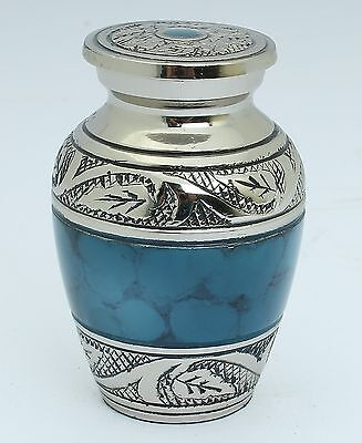 Mini Cremation Keepsake For Ashes,Funeral Memorial Remembrance Urn Small, Blue