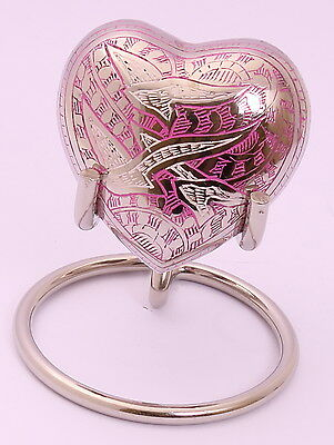Small Cremation Ashes Urn, Funeral Memorial Heart Keepsake Pink !!FREE STAND!!