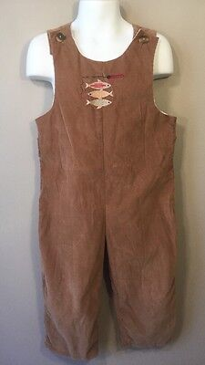 Just Ducky Boutique Brown One Piece Suit Romper Overalls Fishing Pole Fish Sz 3