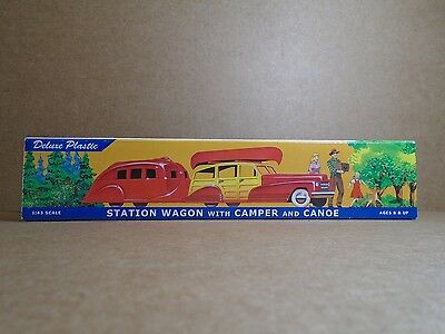 Station Wagon with Camper and Canoe  Plastic Restoration Hardware 1940's Repro