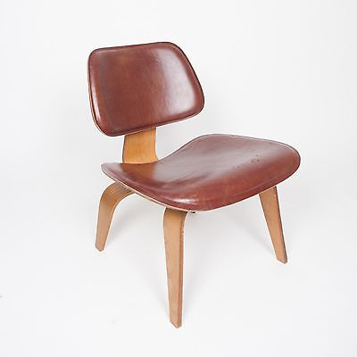 RARE Eames Evans Herman Miller 1947 LCW Plywood Lounge Chair Leather! 5-2-5
