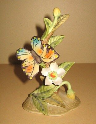 Lefton China Bisque Porcelain Butterfly & Flower Hand Painted Figurine #2414