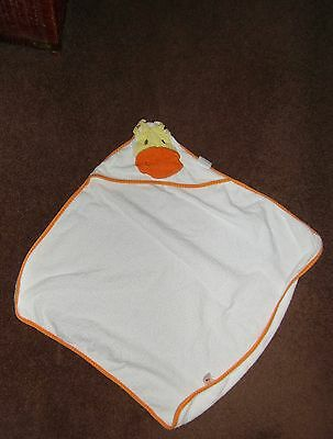 Babies White Hooded Towel - with duck face - mothercare