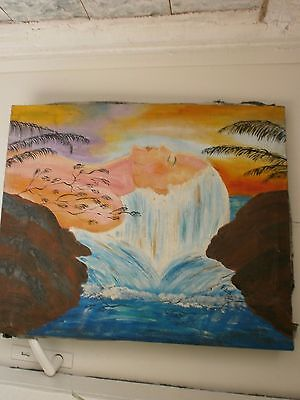 Vintage RomantIc Painting,Hand Painted, Oil Picture- Sunset over the Sea- Europe