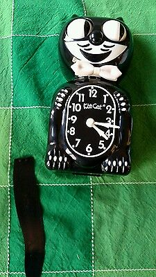 """BLACK KITTY CAT CLOCK (3/4 Size) 12.75"""" Free Battery MADE IN USA Kit Kat"""
