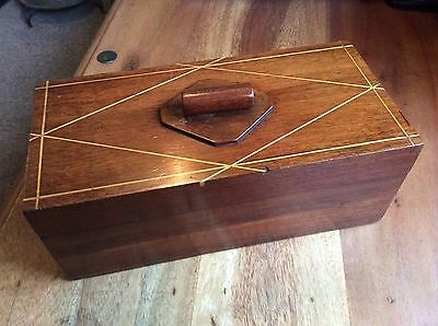 Vintage / Antique 1940s  Wooden Jewellery or Trinket Box Padded Interior.