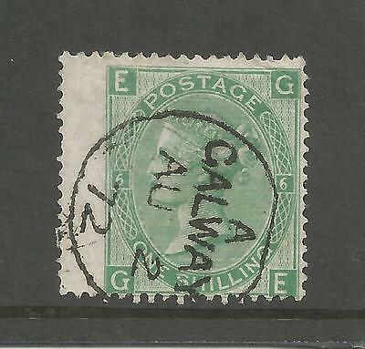 Queen Victoria 1872 One Shilling Green Plate 6 Galway Cancel  Ref 82