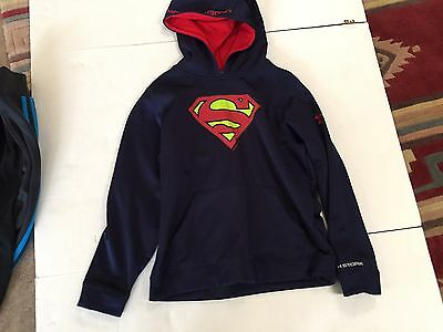 UNDER ARMOUR COLDGEAR  Hoodie ~SUPERMAN Logo ~  YLG ~ Pull Over ~ Navy