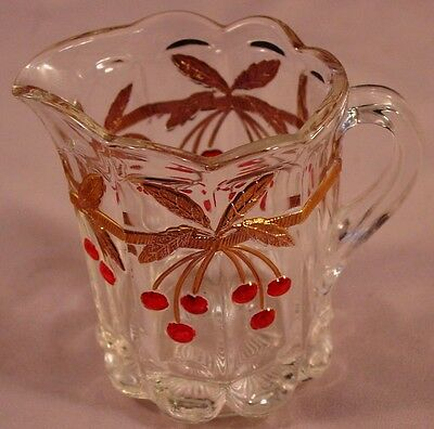 Child's Mini Pitcher in Cherry Thumbprint-Decorated by Mosser