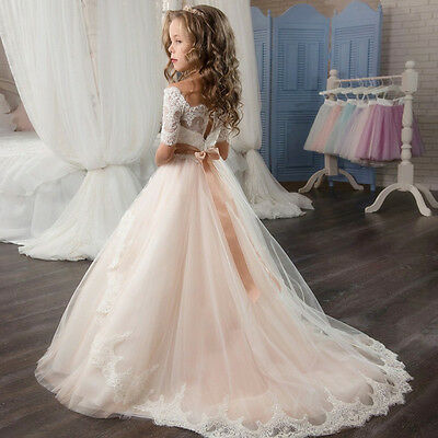 Flower Girl Dress Girl Communion Party Prom Princess Pageant Bridesmaid Wedding+