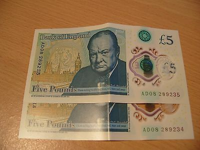 2 x BANK OF ENGLAND CONSECUTIVE SERIAL NUMBERS AD08 £5 NOTES FIVE POUND POLYMER