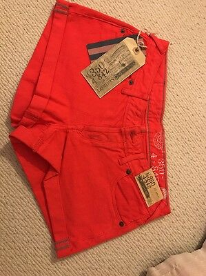 Jack Wills Ladies Red Denim Shorts Uk 8 New With Tags
