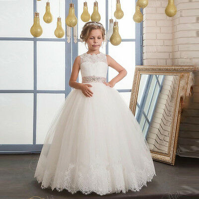 Princess  Lace Flower Girl Dresses Kids Holy Wedding Communion Gown  dress