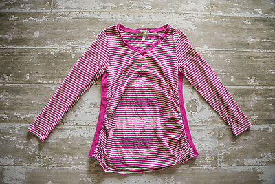 Old navy Maternity Pink And Gray Striped Long Sleeve V-neck Shirt XL