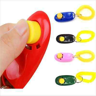 1X Puppy Dog Cat Pet Click Clicker Button Training Obedience Aid Wrist Strap Hot