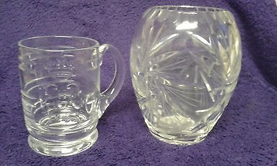 A Pair of Vintage Glass Collectables. 1953 Tankard & Crystal Cut Vase.