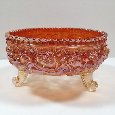 """Large Fenton """"Open Rose"""" 3 Footed Carnival Glass Bowl"""
