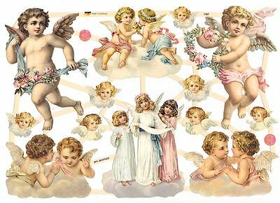 Angel Amour - Decoupage Scrap Papier Vintage Glanzbilder Poesie - Engel Retro