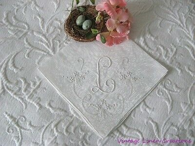 VINTAGE BRIDAL ROMANCE * Antique MONOGRAM L * Embroidered WHITE WEDDING HANKY