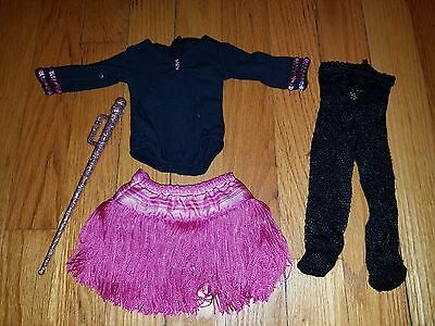American Girl Marisol Tap Dance Outfit Leotard Pink Skirt Cane Fishnet Tights