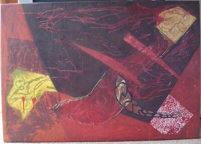 Large abstract contemporary wall painting. 2002. Signed by the artist. French.